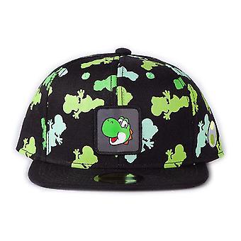 Super Mario Bros. Yoshi Color Silhouette AOP Logo Badge Snapback Baseball Cap