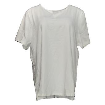 Denim & Co. Women's Plus Top Essentials Jersey Split V-Neck White A366975