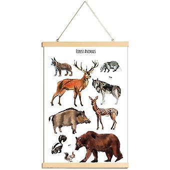 JUNIQE Print -  Forest Animals - Wildtiere Poster in Braun & Grau