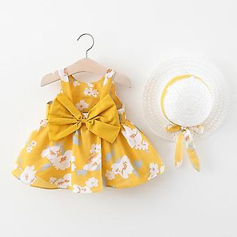 Summer Bow Print Dress With Hat, 2 Piece Baby Clothes Suits Bohemia Style-