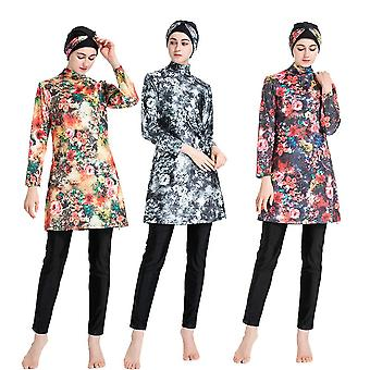 Muslim Burkini Printed High Elasticity Swimsuit Beach Suit's Islamic Swimming