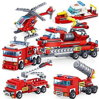 4in1 Fire Fighting Trucks, Car, Helicopter, Boat Building Blocks