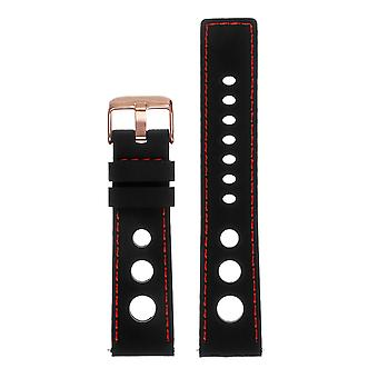 Strapsco rubber rally strap with rose gold buckle - quick release