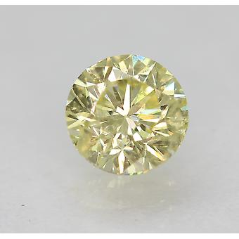 Cert 0.50 Carat Fancy Yellow SI1 Round Brilliant Enhanced Natural Diamond 4.91mm