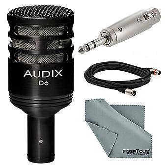 Audix d6 dynamique cardioïde micro de grosse caisse (noir) bundle de base avec câble + adaptateur + tissu fibretique