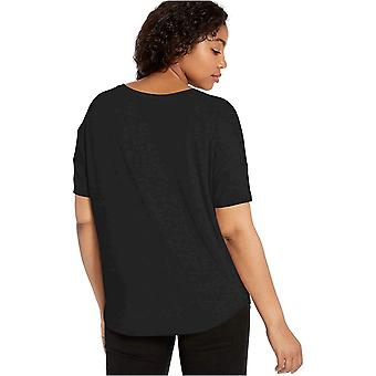 Marca - Daily Ritual Women's Jersey Rib Trim Drop-Shoulder Short-Sleeve Scoop Top, Preto, X-Large