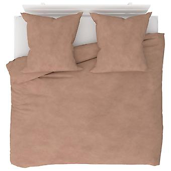 3-tlg. Bettwäsche-Set Fleece Beige 200 x 200 / 80 x 80 cm