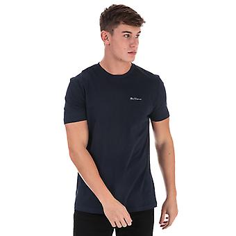 Men's Ben Sherman Skript bestickt T-Shirt in blau