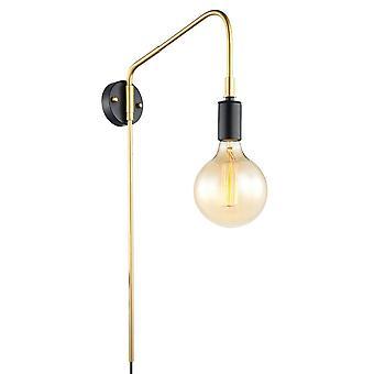 Moderne wandlamp zwart, goud 1 licht, E27