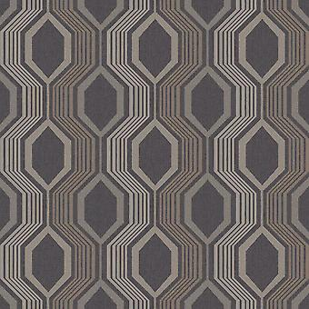 Sechseck geometrische Tapete Arthouse Charcoal Gold