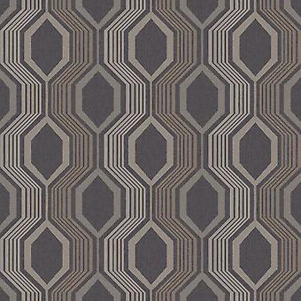 Hexagon Geometric Wallpaper Arthouse Charcoal Gold
