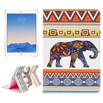 Ethnic Elephant Pattern Leather Case with Holder & Card Slots & Wallet for iPad Air 2 / iPad 6