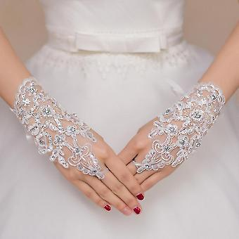 Bridal Gloves Fingerless Length Lace Appliques White Bridal Wedding Gloves