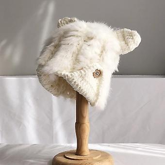 Cute Rabbit Fur Hat, Herfst & Winter Cat Ears Protector Koreaanse Warme Dikke Brei