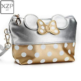 Xzp Mickey Bow Dot Pu Travel Organizer Cosmetic Bag Fashion Makeup Bag Wash