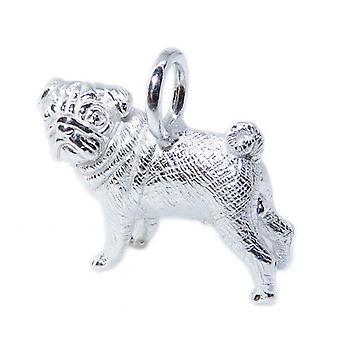 Pug Cane Sterling Silver Pendente .925 X 1 Pugs Cani Ciondoli - 8567