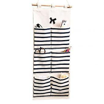 6/8 Pockets Stripe Closet  Wall Hanging Organizer Cotton Linen Wardrobe Hanging