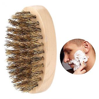 Men Soft Beard Brush ,mustache Comb With Oval Bamboo Handle