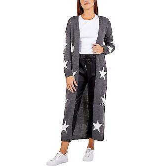Edge to Edge Star Knitted Long Cardigan | Grey