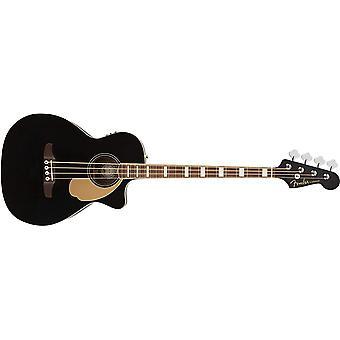 Fender kingman akustinen bassokitara (v2) - musta - laukku - pähkinäsormelauta