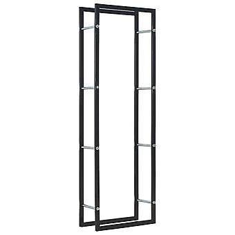 Firewood Rack Black 50x20x150 cm Steel
