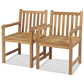 Outdoor Chairs 2 Pcs Solid Teak Wood