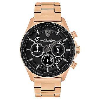 Scuderia Ferrari Men's Pilota Evo | Rose Gold Plated Steel Bracelet | Black Dial 0830825 Watch