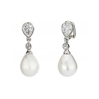 Traveller Clip Earring  Hanging  12x15mm Drop Pearl  Rhodium Plated - 110680 - 359