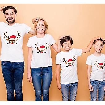 Familie haine asortate, imprimare alb cu mânecă scurtă tricou