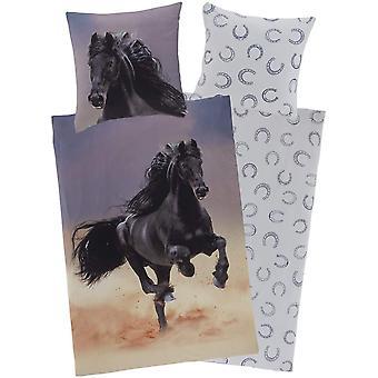 Wokex Bettwsche-Set Pferd 135 x 200 cm + 80 x 80 cm aus Baumwolle mit Reiverschluss, unsere
