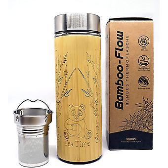 Wokex Trinkflasche aus Bambus mit einem setzbaren Teesieb, Thermosflasche, Teebereiter