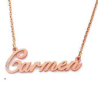 Kigu Carmen - Necklace with name, plated in rose gold, with crystals, with pendant in the shape of a personalized name, jewelry for Ref. 4963303152325