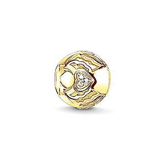 توماس سابو قلادة الذهب مطلي زركونيا مكعب الأبيض للسيدات الفضية 925