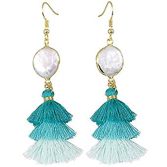 KYEYGWO - Women's earrings with tassel, bohemian with crystal thread and Alloy, color: Schrittweise Blau Schale Ohrhanger, cod. Ref. 0715444084447