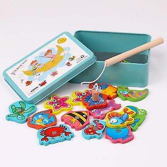 Pêche magnétique en bois pour enfants, Concentration de puzzle, Coordination œil-main