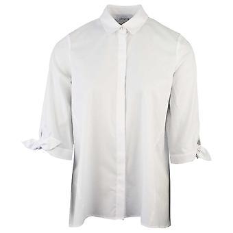 Just White White 3/4 Rolled Sleeve Button Up Oversized Boyfriend Shirt