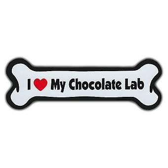"Magnes, Dog Bone, I Love My Chocolate Lab, 7 ""X 2"""