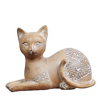 Geschnitzte Sandstein-Effekt exotische Katze Ornament
