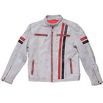 Men's White Leather Vintage Biker Jacket with Stripes
