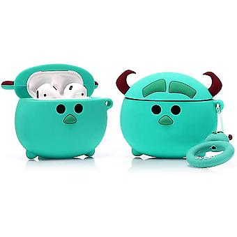 Protective Silicone Case for Apple Airpods 1 and 2, Cartoon-Round Sulley Pattern 1pc