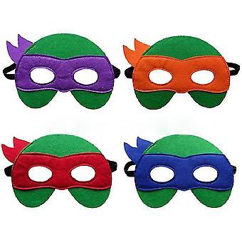 4ks Halloween Party Kids Cartoon Felt Mask Ninja Turtle Mask