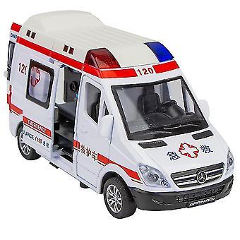 合金救急車モデルライトサウンドシミュレーションダイキャストプルバック車のおもちゃ