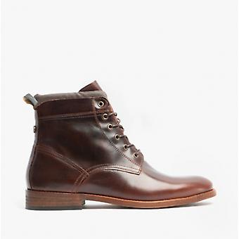 Barbour Backworth Mens Leather Derby Boots Mahogany