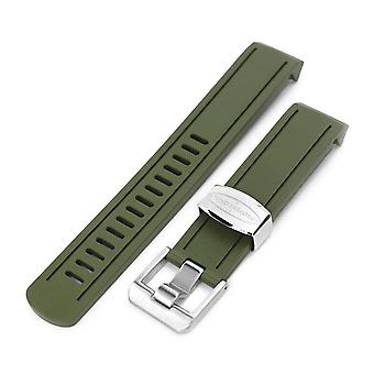 Gumové hodinky Popruh 20mm Crafter Blue - Vojenská zelená guma zakřivené Lug Hodinky Band pro Seiko Sumo