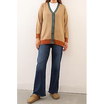 Color Blok Button Front Knitwear Cardigan