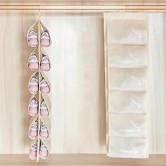 Laundry baskets hanging storage bag closet storage cabinet household shoe storage rack storage bag beige