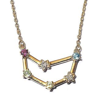 TJC Multi Gemstone Capricorn Necklace for Women Gold Plated Silver 0.29ct