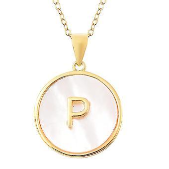 Matka Perlového počátečního P náhrdelníku pro ženy pozlacené stříbro 18 '' 0.01ct