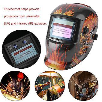 Solar Auto Darkening Electric Welding Mask Helmet Solder Cap Flaming Skull