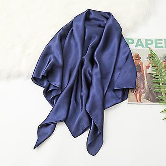 35in Cetim Cabeça lenços vintage quadrado sensação de seda, marinha